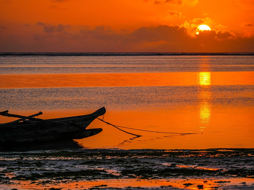 Sunrise, Fishing Boat, Indian Ocean, Zansibar, Africa