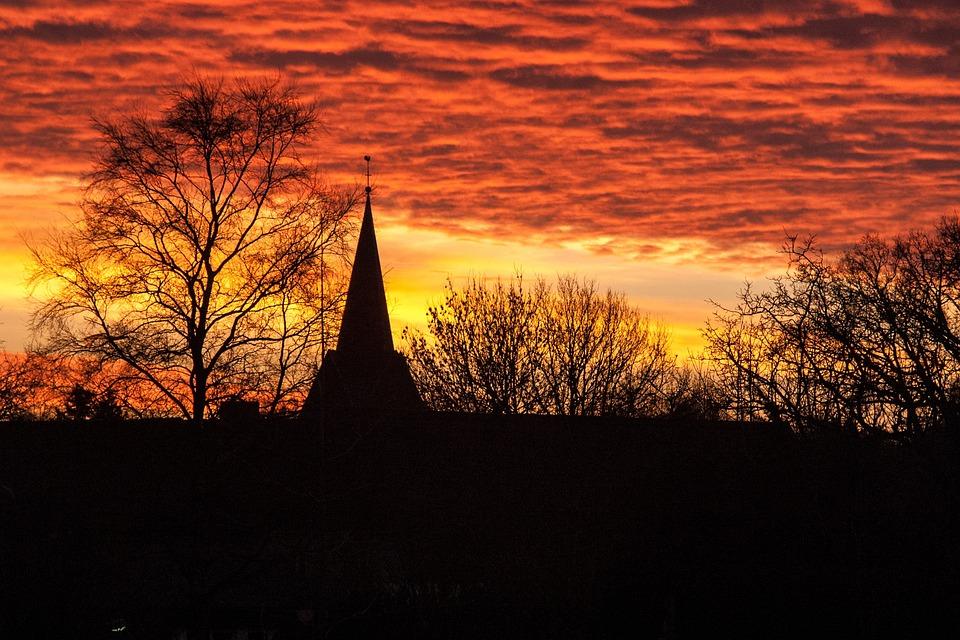 Church, Building, Germany, Sunrise, Kropp