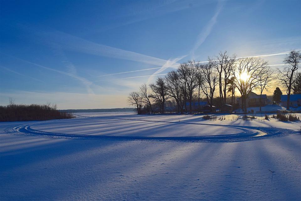Lake, Sunrise, Frozen, Winter, Snow, Landscape, Trees