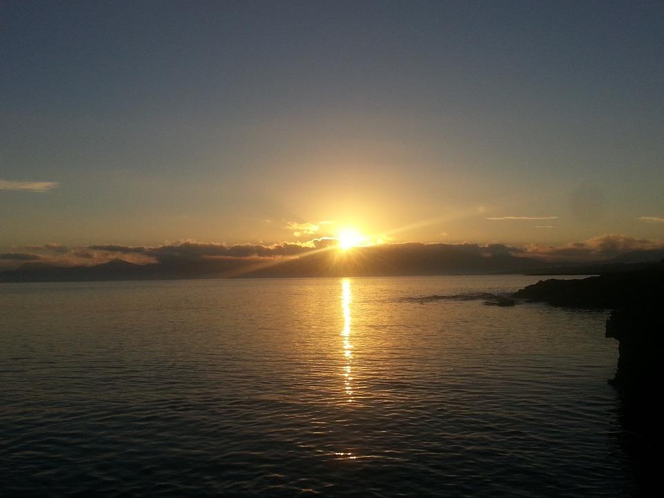 Sunrise, Sea, Mallorca, Bank, Cliff, Spain, Maritime