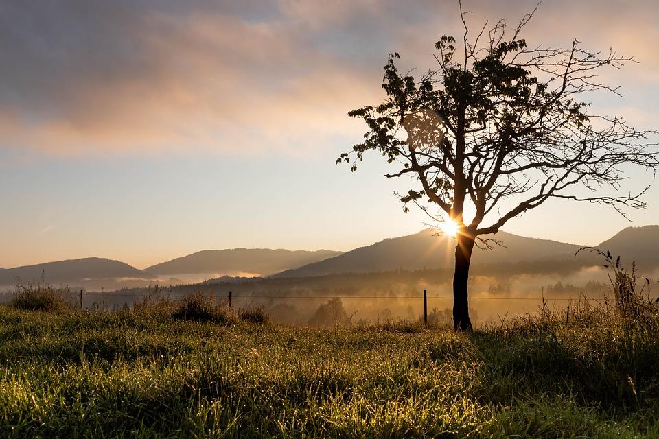 Sunrise, Landscape, Nature, Sky, Mountains, Clouds