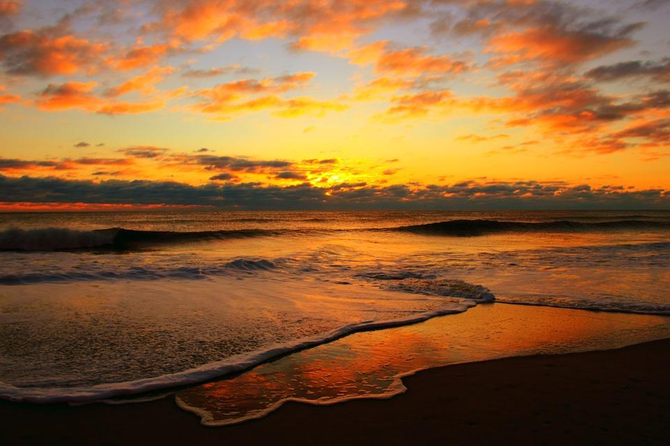 Sunrise, Waves, Sea, Ocean, Ocean Wave, Beach, Water