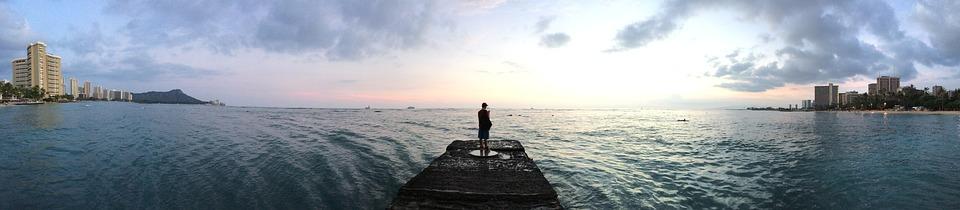 Sunrise, Beach, Hawaii, Ocean, Panoramic