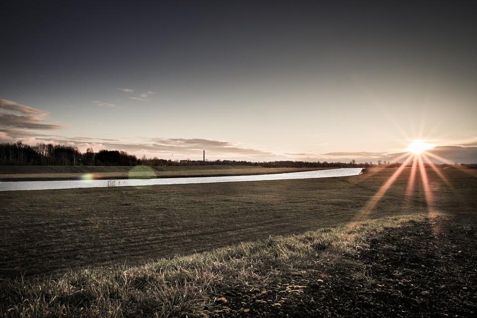 Sunrise, River, Dawn, Spring, Early Spring, Landscape