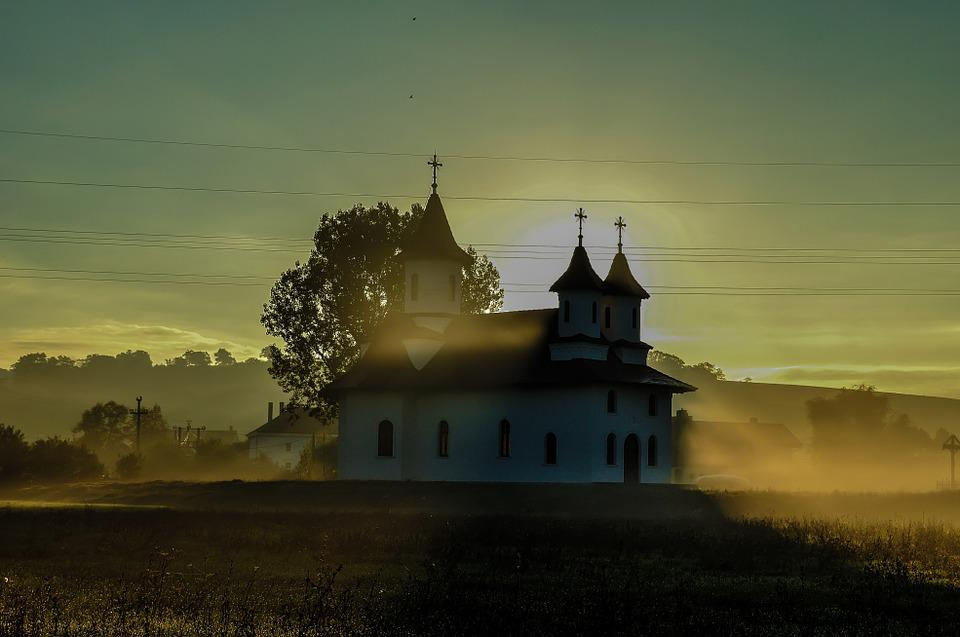 Church, Landscape, Sunrise, Sky, Architecture, Building