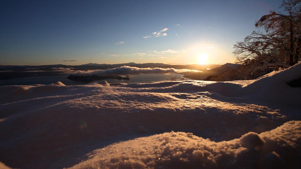 Snow, Sunrise, Winter, Cold, Light, Scenic, Sky