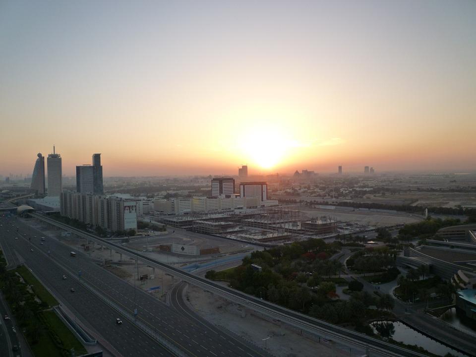 Dubai, United Arab Emirates, Uae, City, Road, Sunrise