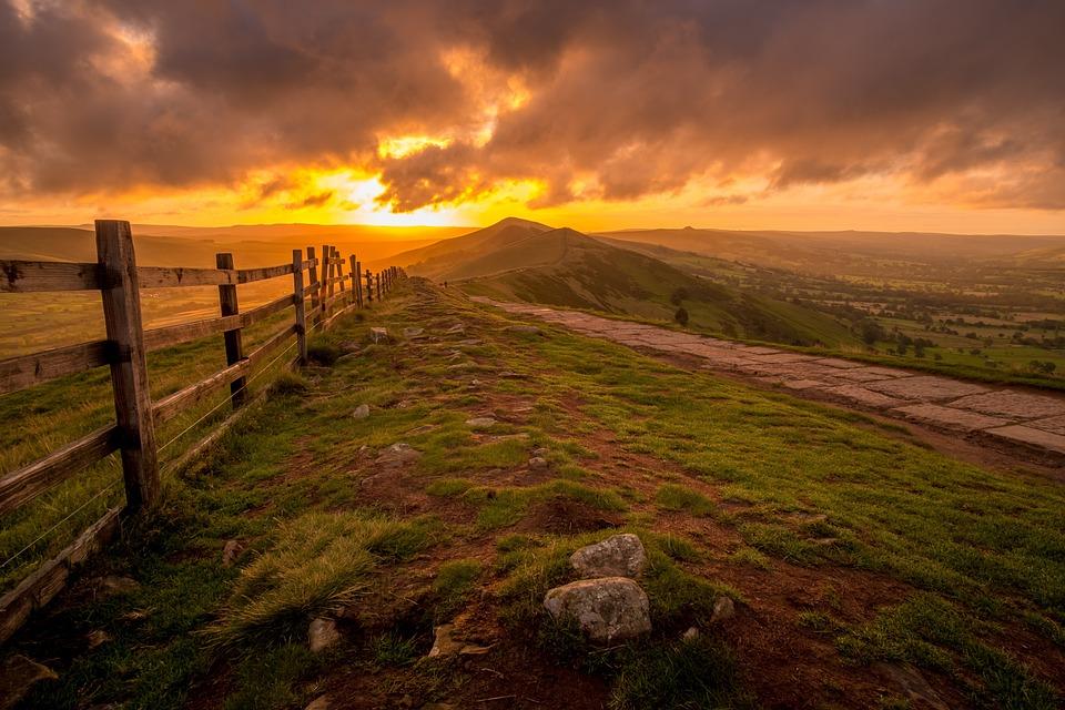 Hill, Wooden Fence, Sunset, Sunrise, Fence, Ridge, Peak