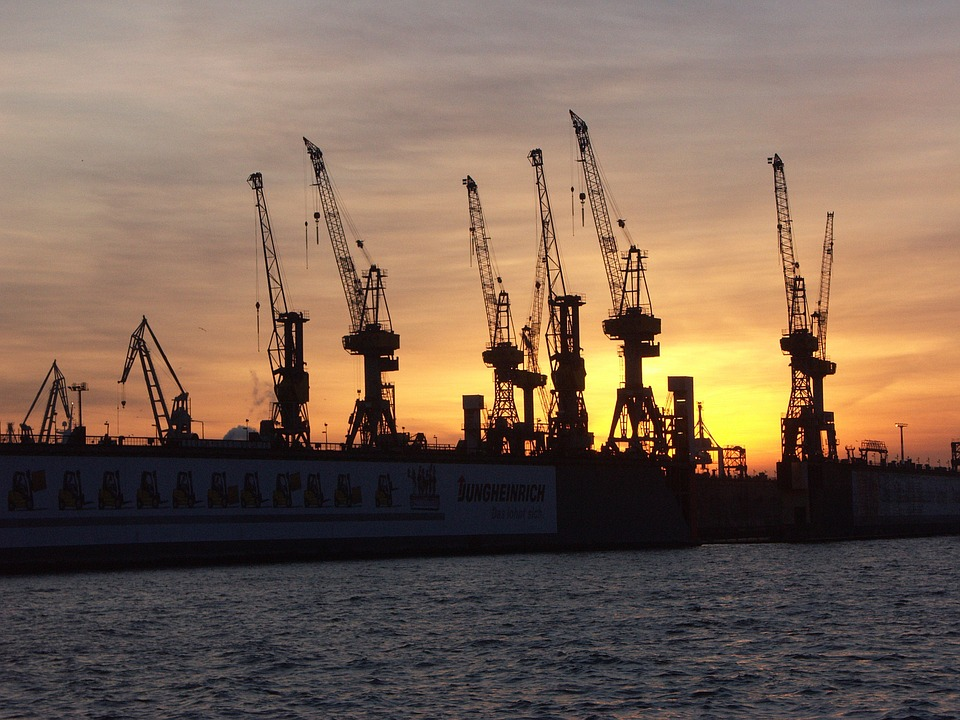 Sunset, Hamburg, Shipyard, Abendstimmung, Afterglow