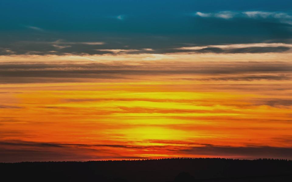 Sunset, Setting Sun, Sky, Clouds, Abendstimmung