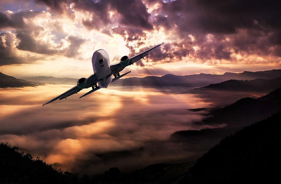 Landscape, Aircraft, Clouds, Storm, Sunset, Lighting