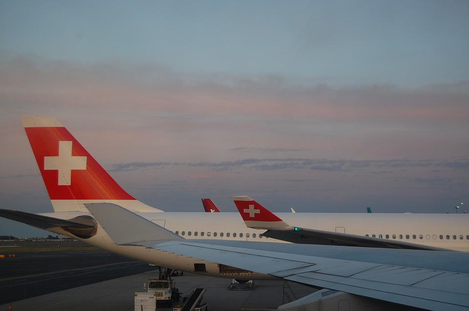 Swiss Air, Plane, Swiss, Airplane, Travel, Sunset