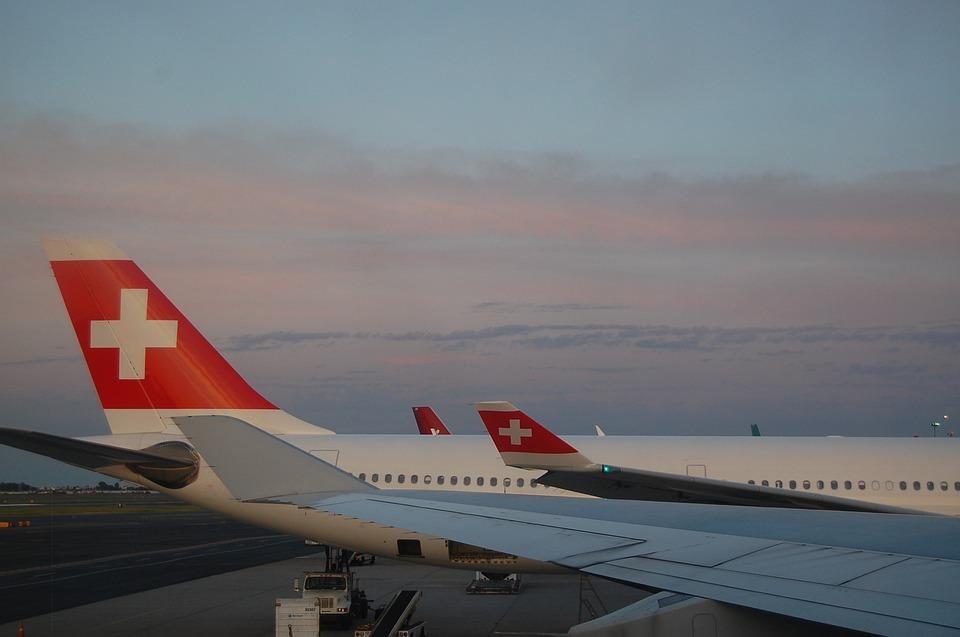 Swiss Air, Plane, Swiss, Airplane, Travel, Sunset