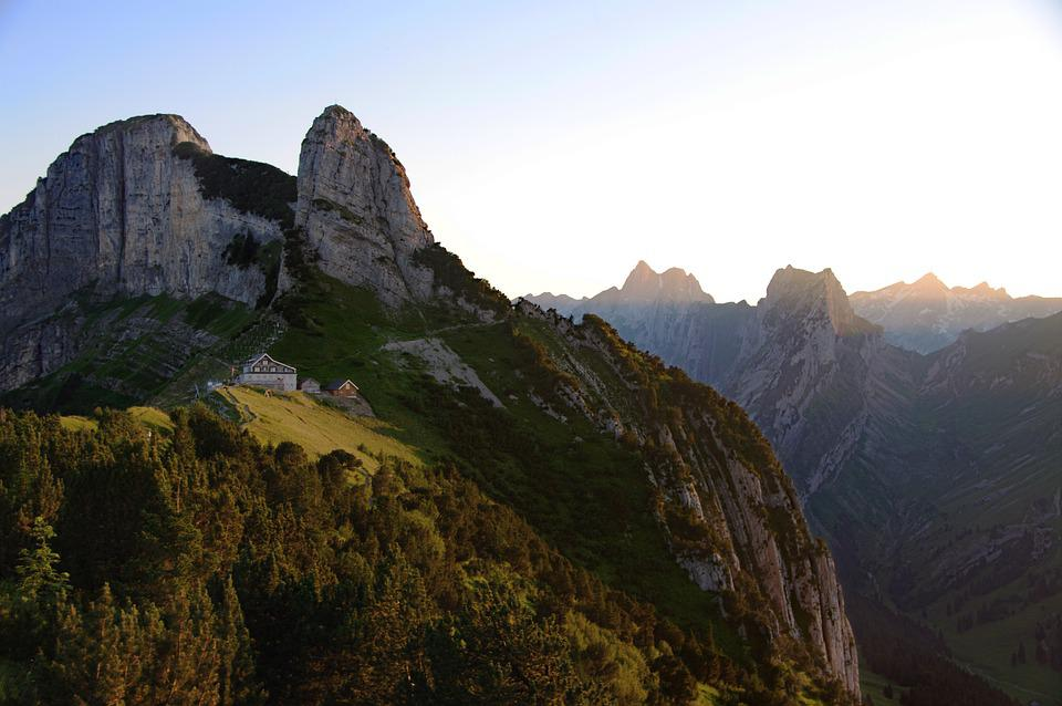 Switzerland, Mountains, Alpine, Alps, Alpstein, Sunset