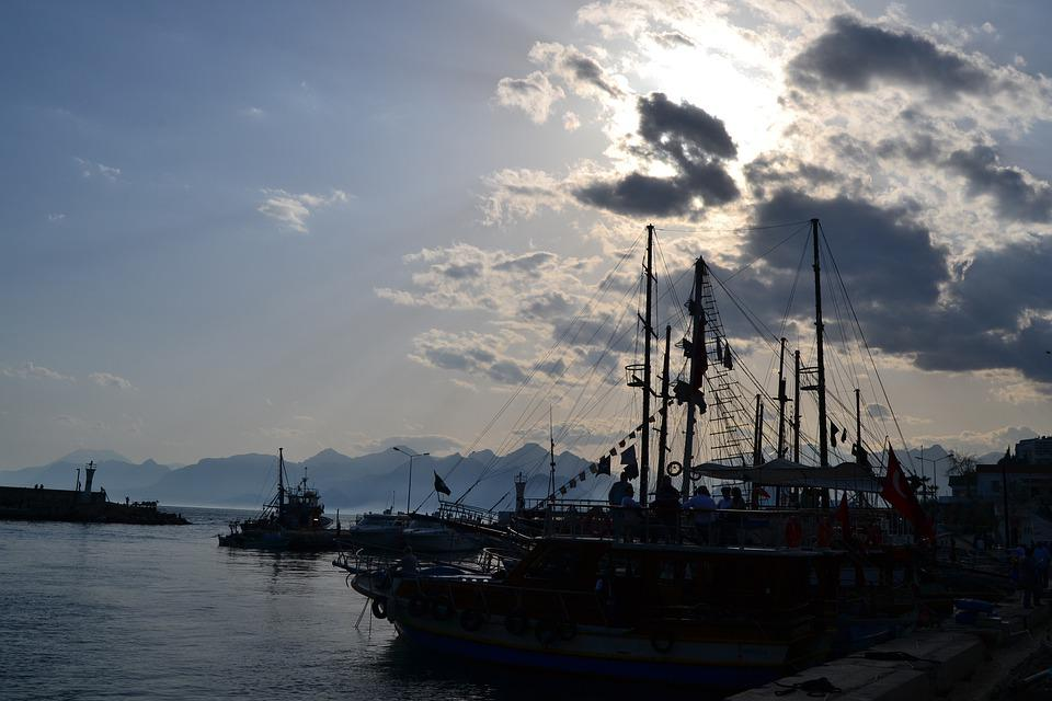 Turkey, Antalya, Marine, Sunset, Ship, Taurus Mountains