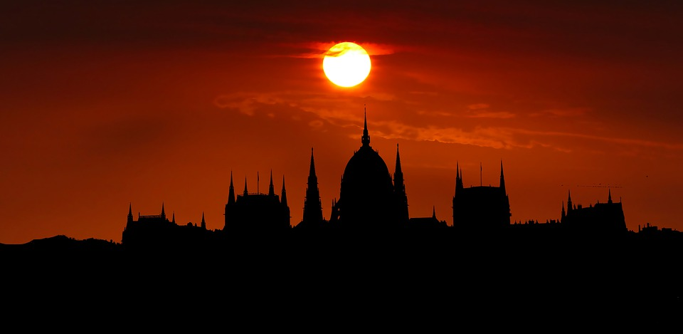 Sunset, Architecture, Budapest, Parliament, Hungary