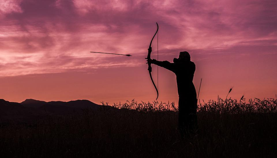 Archer, Archery, Sunset, Arrow, Bow, Target, Aiming
