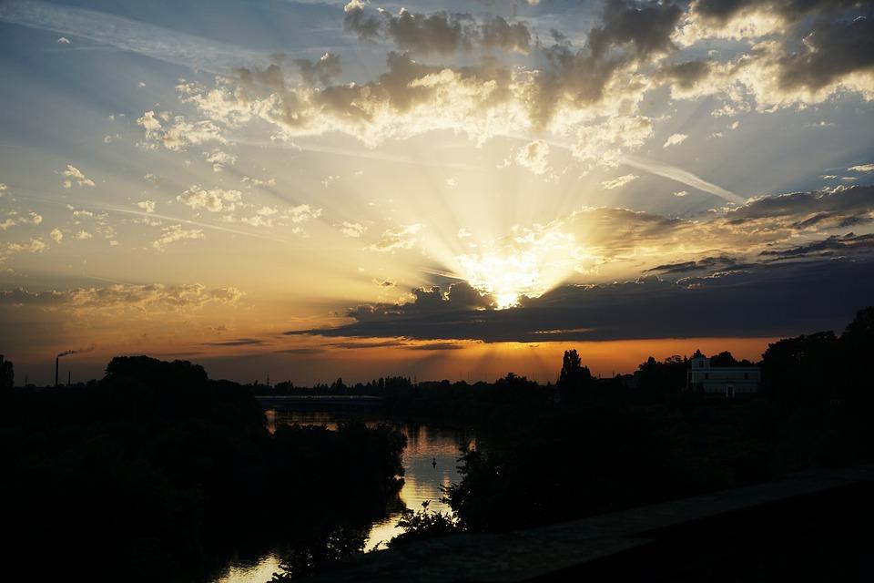 Sunset, Aschaffenburg, Main, Evening Sky, Horizon
