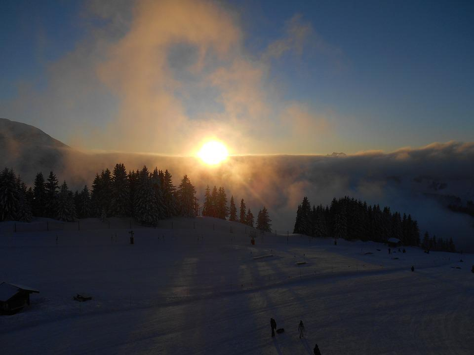 Sunset, Mountain, Trees, Snow, France, Avoriaz, Clouds