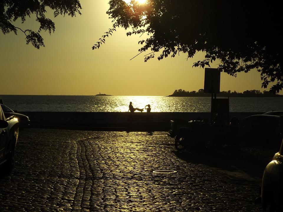 Sunset, Couple, Backlight, Love, Ocean, Friendship