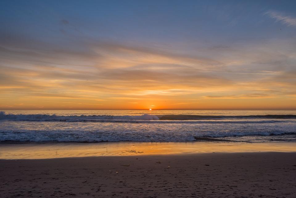 Sunset, Water, Dawn, Dusk, Beach, Sky, Sun, Sand