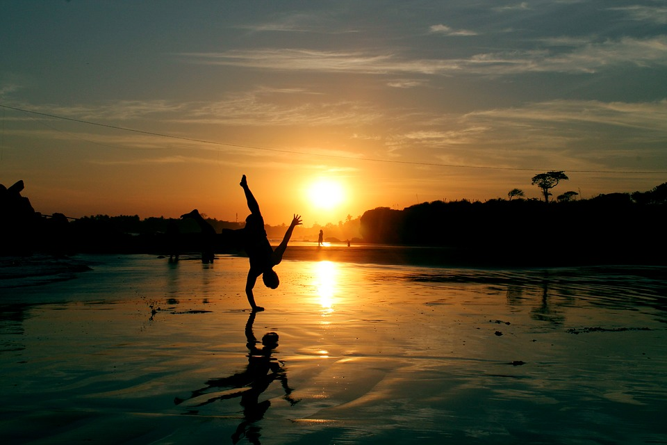 Beach, Sunset, Sun, Shore, Break Dance, Figure