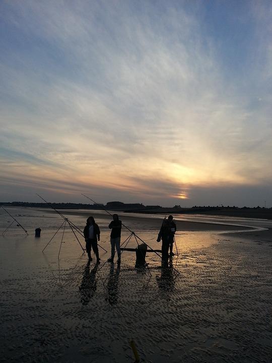 Fishermen, Beach, Sunset