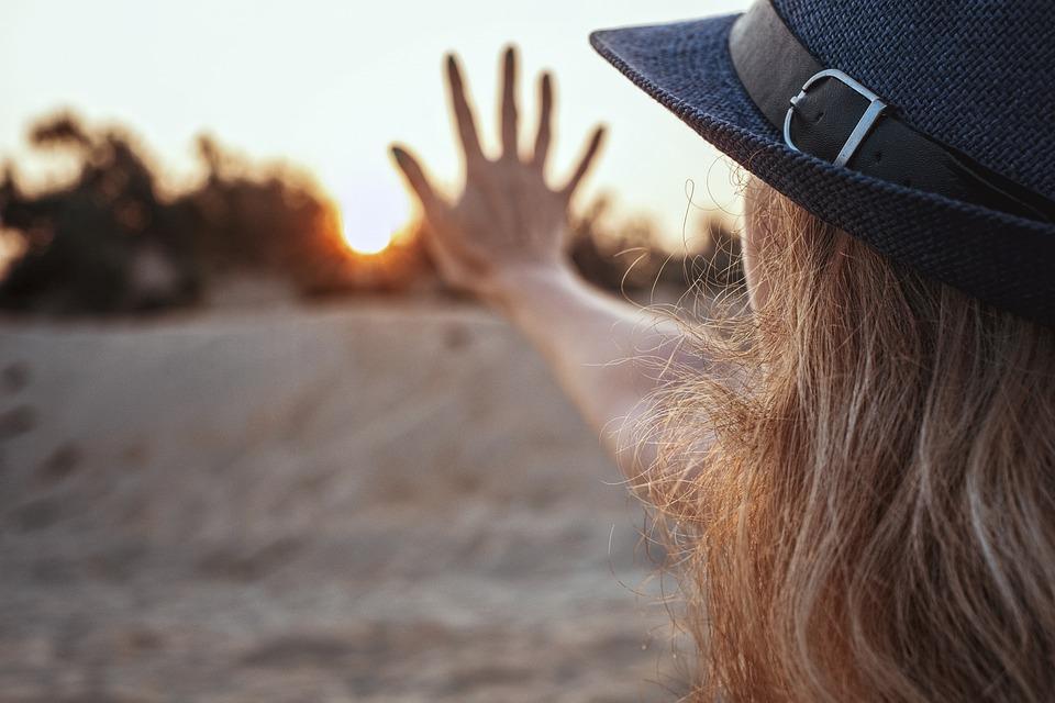 Sun, Five, Dawn, Sunset, Girl, Hand, Hat, Sand, Beach
