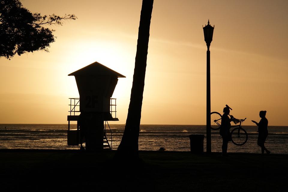 Beach, Silhouette, Yellow, Sunset, Lifeguard On Duty