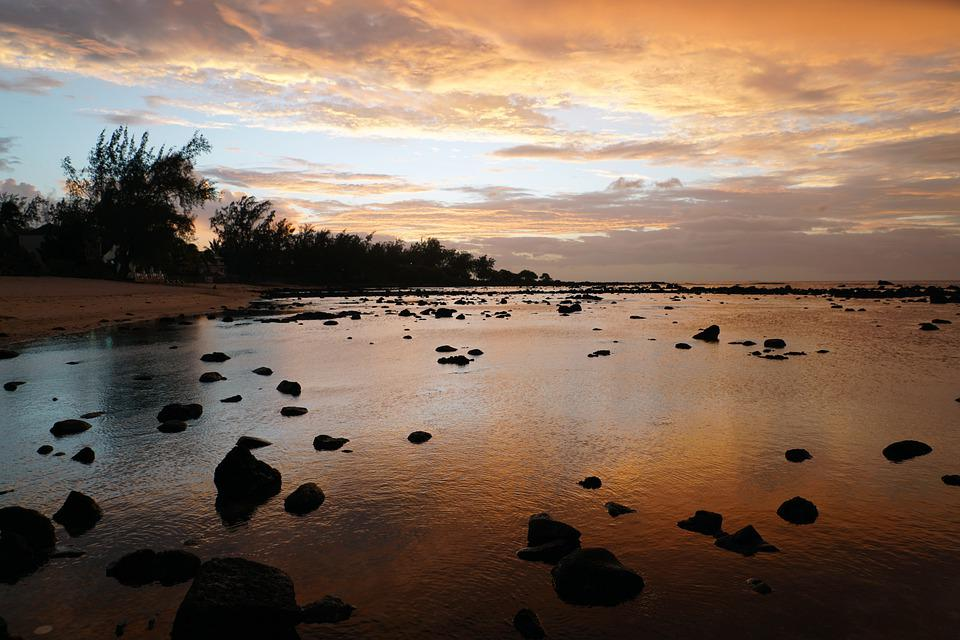 Sunset, Sea, Beach, Coast, Rocks, Nature, Water, Shore