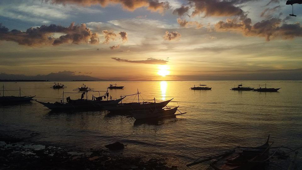 Sunset, Beach, Sea, Sky, Dusk, Sun, Calm, Clouds