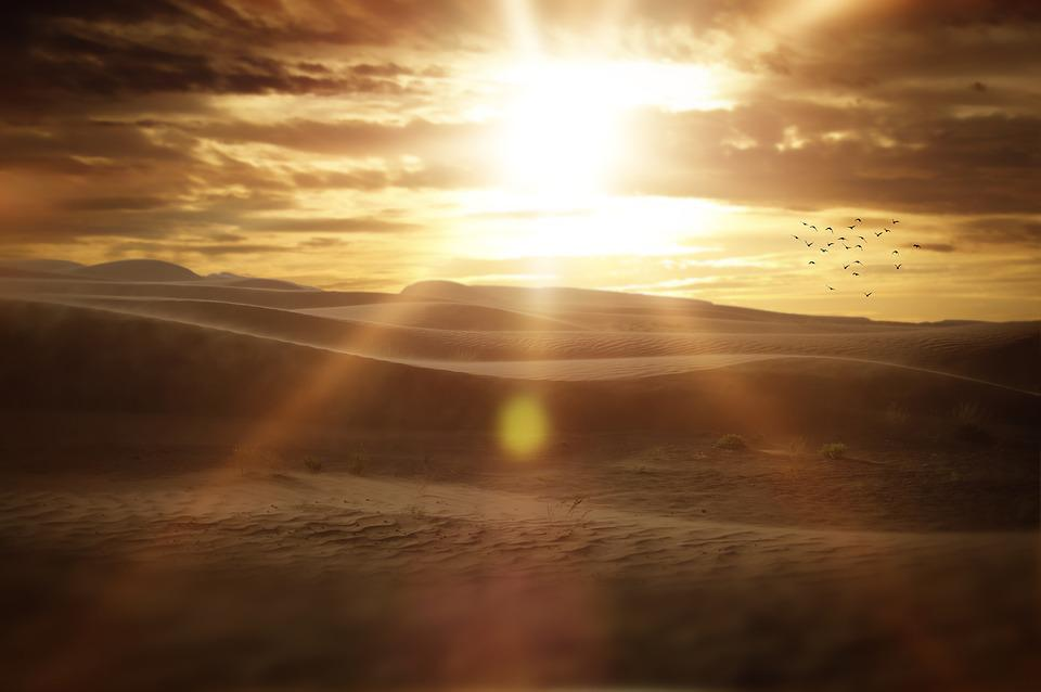 Landscape, Desert, Sand, Sunset, Beautiful, Light, Sun