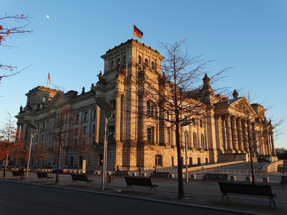 Berlin, Sunset, Building, Flag