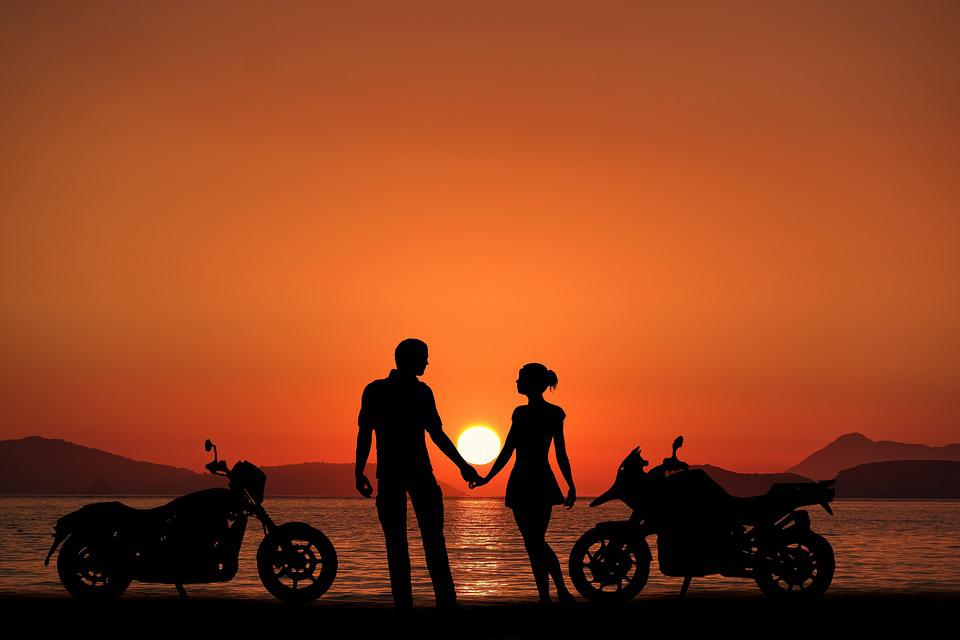 Sunset Bikes, Couple, Oceans, Beach, Love, Romantic