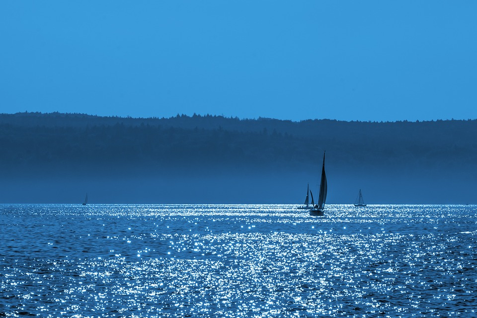 Lake Constance, Sailing Boat, Boot, Sunset, Blue, Hour