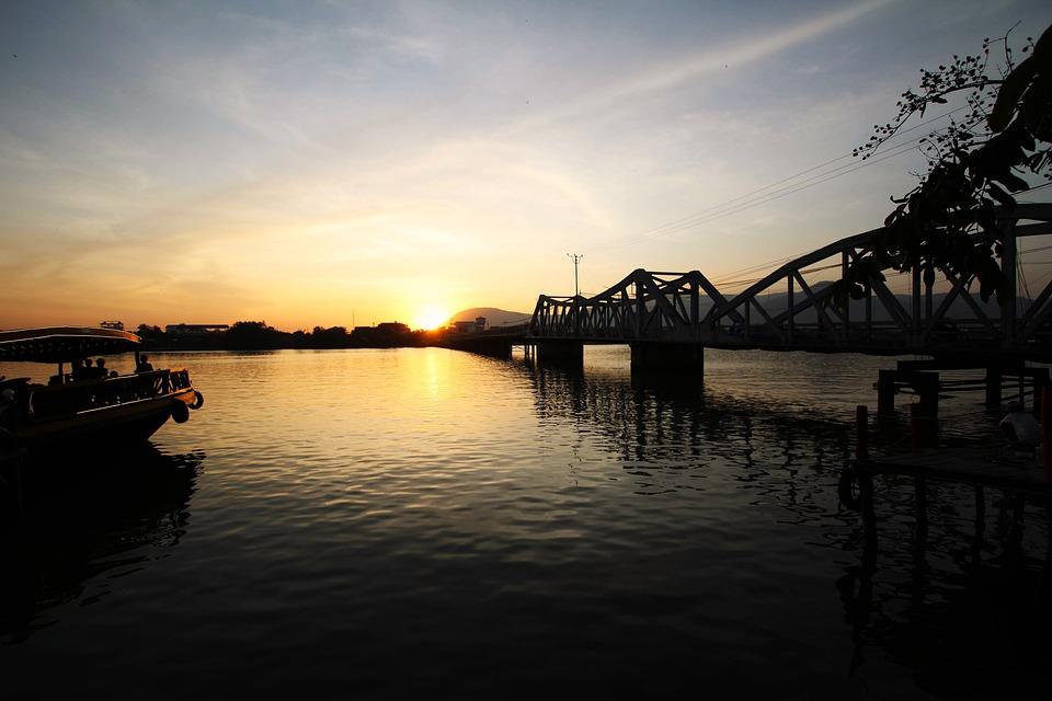 Sunset, Cambodia, Kampot, Bridge