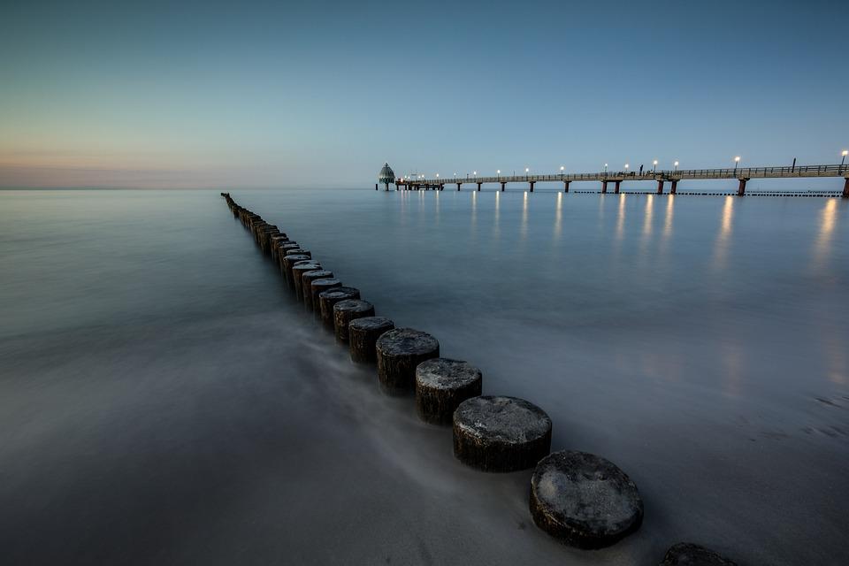 Sea, Ocean, Bridge, Sunset, Long Exposure
