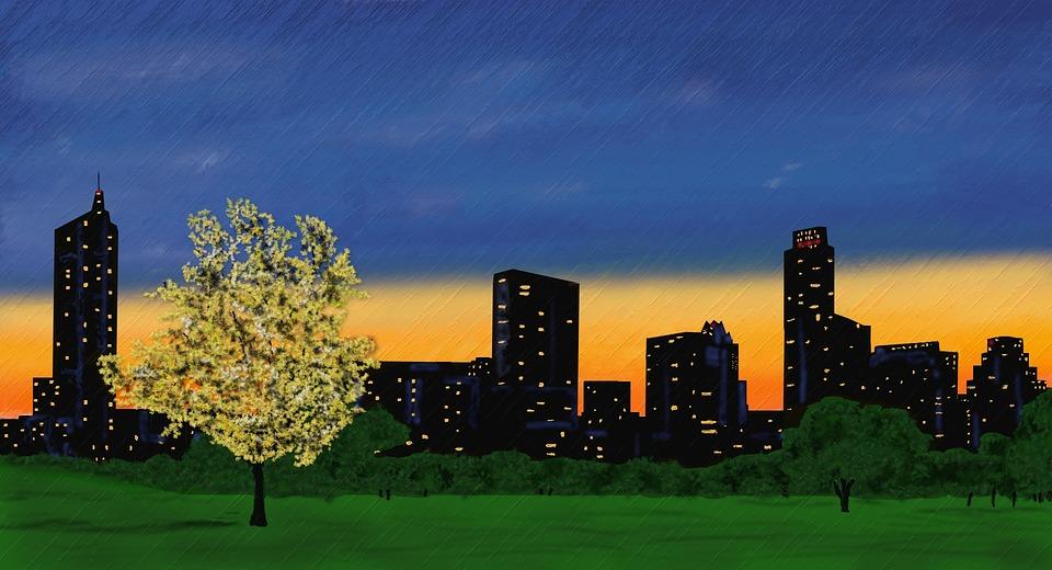 Skyline, Abendstimmung, Sunset, Skyscraper, Building