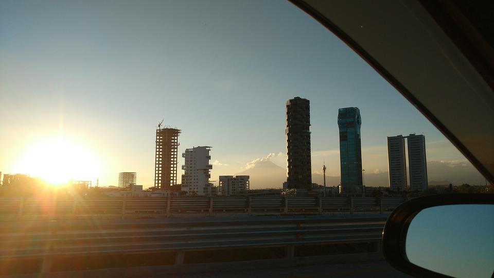 City, Buildings, Sunset