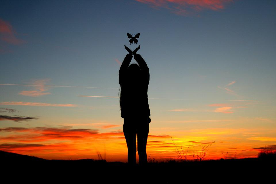 Sunset, Girl, Shadow, Butterfly, Sky, Cloud, Red