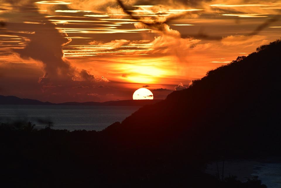 Sunset, Tortola, Caribbean, Sea, Landscape, Evening