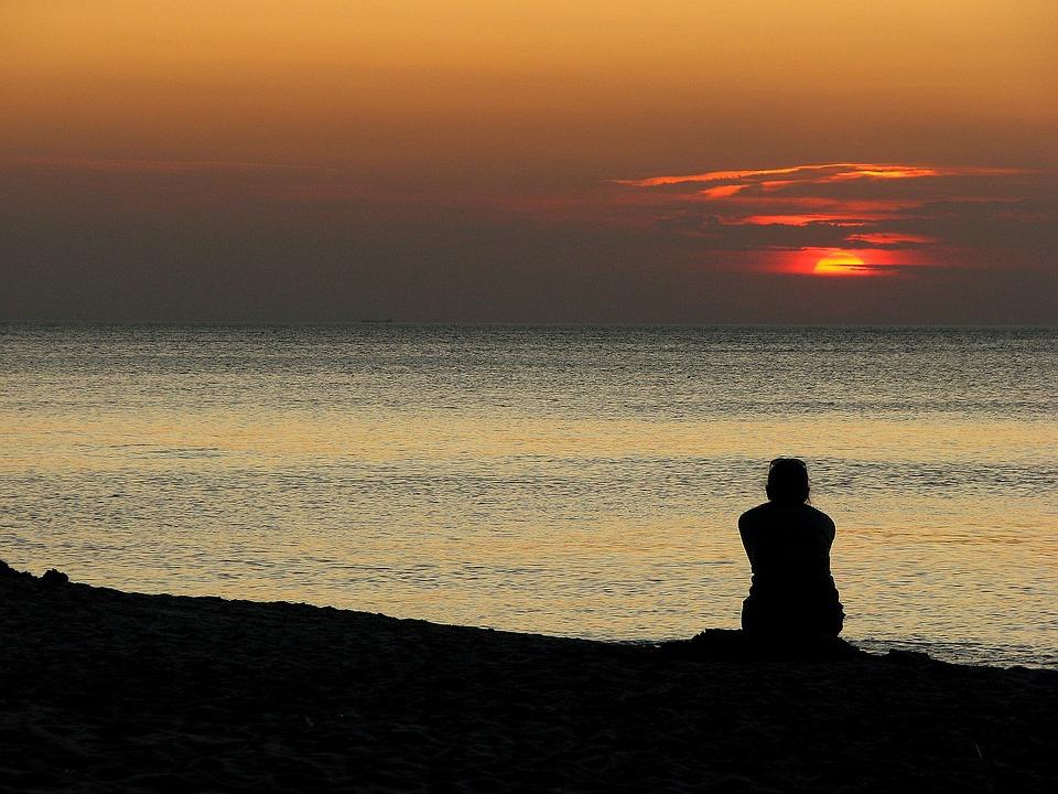 Sunset, Sea, The Baltic Sea, Character, Man, Woman