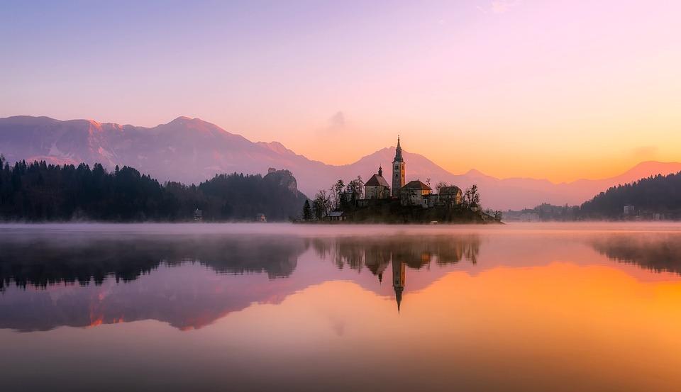 Church, Lake, Sunset, Panorama, Bled, Mirroring