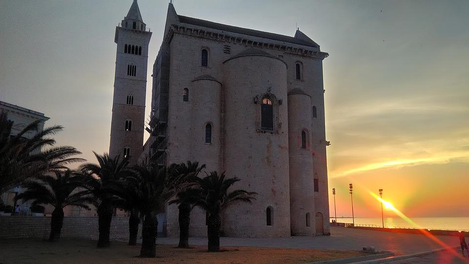 Cathedral, Sunset, Sun, Church, Sky, Trees, Palms