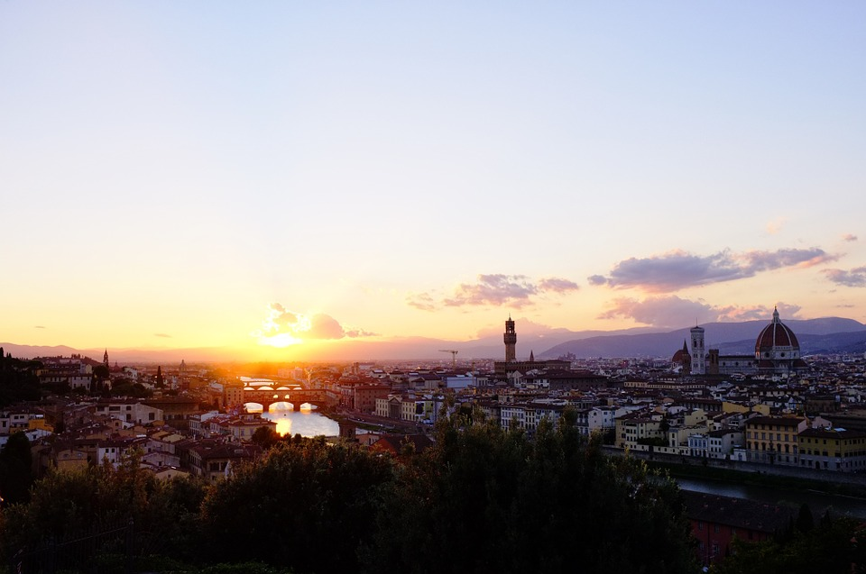 Sunset, City, View, Florence, Italy