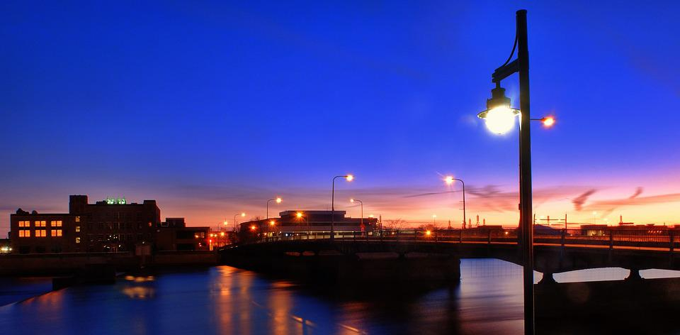 Sunset, Cityscape, Streetlight, Purple, City