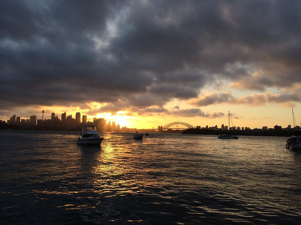 Sydney, Sunset, Landscape, Skyline, Cloud, Orange