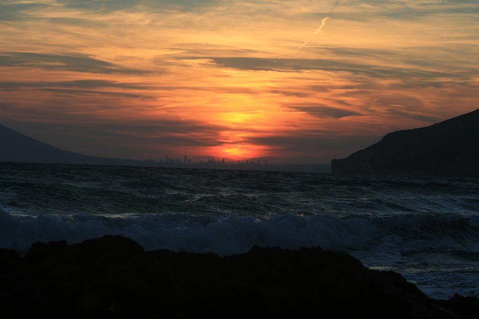 Sunset, Sea, Sky, Clouds, Water, Nature, Dusk