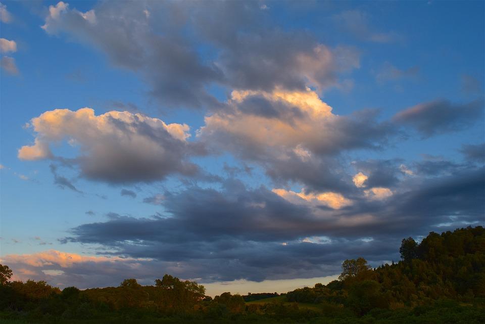 Clouds, Sky, Sunset, Field, Nature, Landscape, Rural