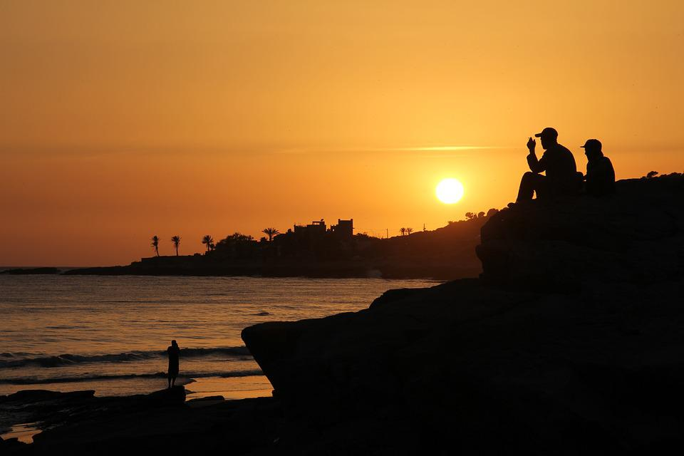 Morocco, Taghazout, Beach, Sunset, Water, Coast